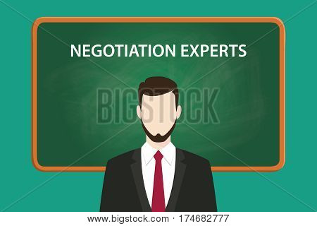negotiation experts white text illustration with a beard man wearing black suit standing in front of green chalk board vector