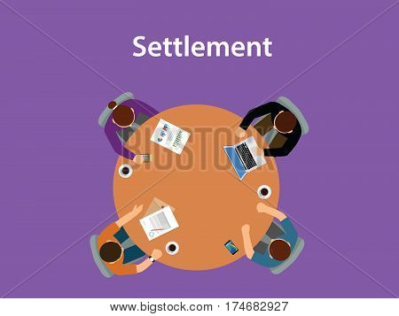 Settlement concept discussion illustration with for people meeting on a table with paperworks on top of the table vector