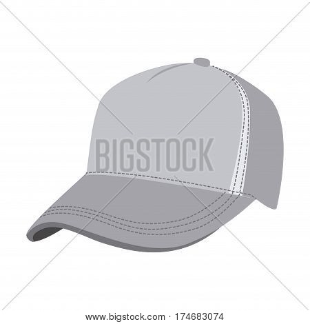 grayscale silhouette with baseball cap vector illustration