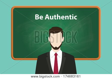 be authentic white text illustration on green chalk board with beard man wearing black suit standing in front of the board vector