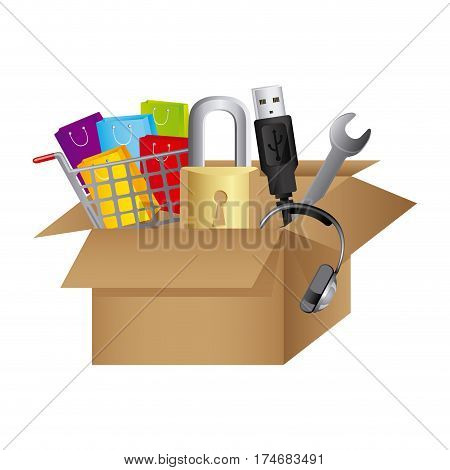color silhouette with box obsolete objects vector illustration