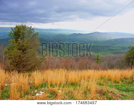 Hilly landscape of Shenandoah National Park in Virginia seen from Skyline Drive