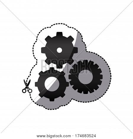 sticker black silhouette with pinions set vector illustration