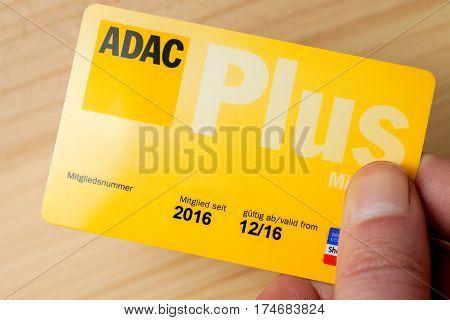LANDESBERGEN / GERMANY - MARCH 5 2017: hand holds an ADAC (german automobile club) club card
