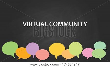 virtual community white text illustration with colourful empty callouts and black background vector