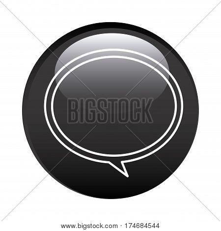 black circular frame with speech bubble icon vector illustration