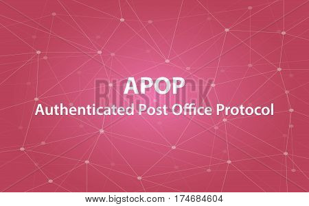 apop authenticated post office protocol text illustration with red constellation map as background vector