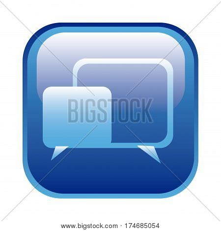 blue square frame with speech icon vector illustration