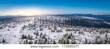 Winter landscape panorama of a Karkonosze mountains as seen from the Szrenica mountain, Poland