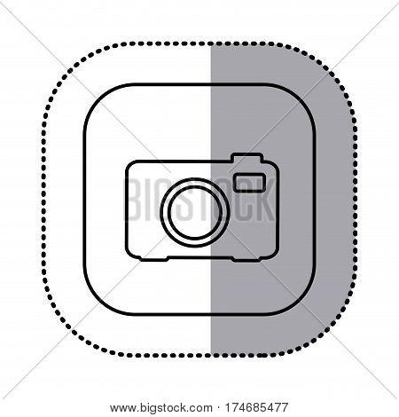 monochrome contour with square sticker of analog camera icon vector illustration