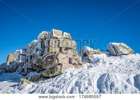 Large stones on the top of Szrenica mountain, Karkonosze mountains, Poland