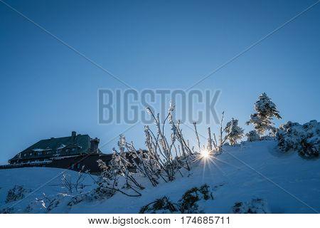 Mountain hostel shelter on top of the Szrenica mountain, Karkonosze mountains, Poland