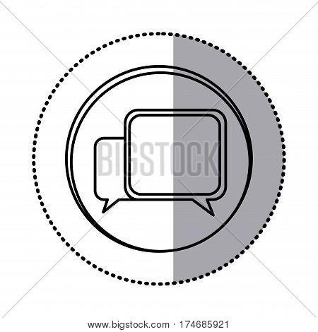 monochrome contour with circle sticker of speech icon vector illustration