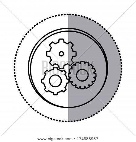monochrome contour with circle sticker of pinions set icon vector illustration