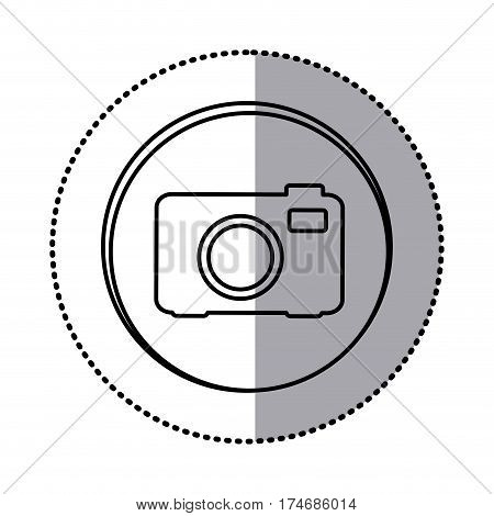 monochrome contour with circle sticker of analog camera icon vector illustration