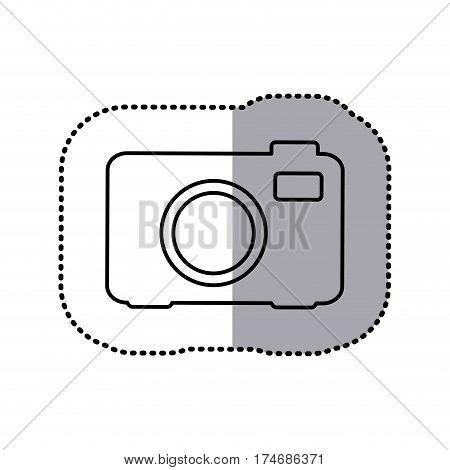 monochrome contour sticker of analog camera vector illustration