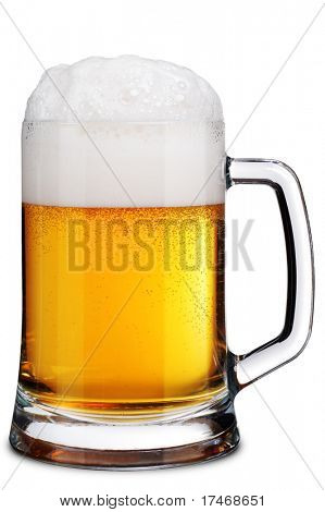 Mug of Beer with Froth. Isolated over White