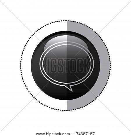 sticker black circular frame with speech bubble icon vector illustration