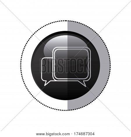 sticker black circular frame with speech icon vector illustration