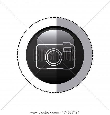 sticker black circular frame with analog camera icon vector illustration