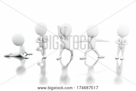 3d renderer image. Withe people doing yoga exercise. Relaxing concept. solated withe background