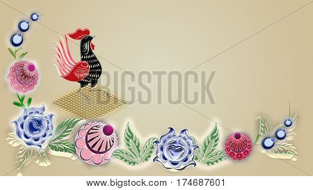 Folk painting of rooster can be used in the design textile printing industry in a variety of design projects.