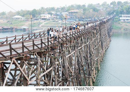 Kanchanaburi THAILAND - March 1: 2017.Wooded bridge over the river (Mon Bridge) in Sangkhlaburi District Kanchanaburi Thailand