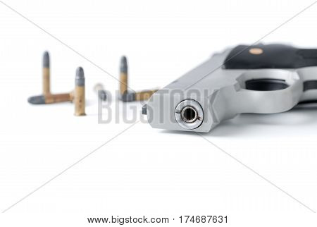 Closed Up Of Automatic Gun Barrel And Bullet Isolated