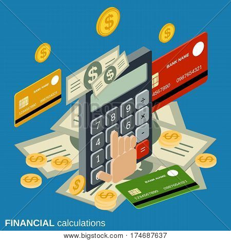 Financial calculations flat isometric vector concept illustration
