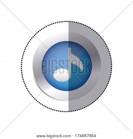 sticker color circular emblem with musical note vector illustration