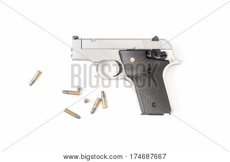 Small Automatic Gun (.22) With Bullet Isolated