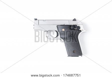 Small Automatic Gun Isolated On White Background