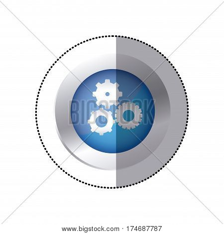 sticker color circular emblem with pinions set icon vector illustration