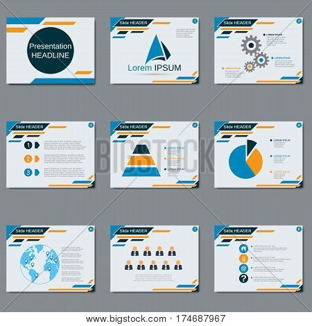 Professional business presentation, slide show vector design template. White background with blue and yellow geometric elements