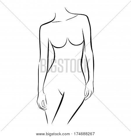front view female stylized half body contour vector illustration