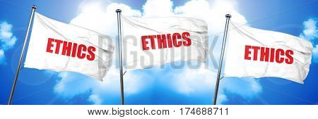 ethics, 3D rendering, triple flags