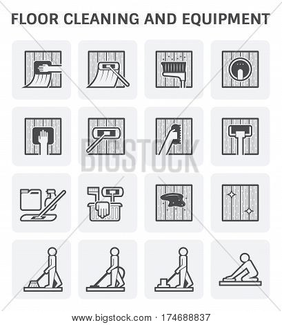 Floor cleaning and equipment vector icon set.