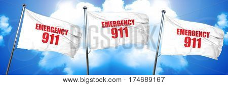 emergency 911, 3D rendering, triple flags