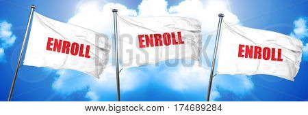 enroll, 3D rendering, triple flags