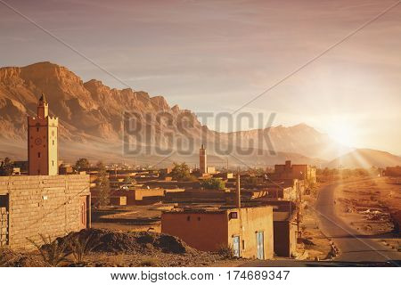 Moroccan village at sunrise  in the High Atlas Mountains  in Morocco.