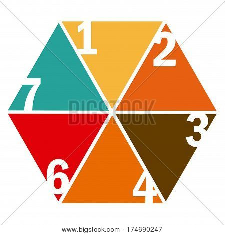 colorful hexagon figure with sections and numeration vector illustration
