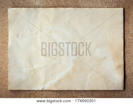 Old Paper Texture On Cork Board Background With Space.