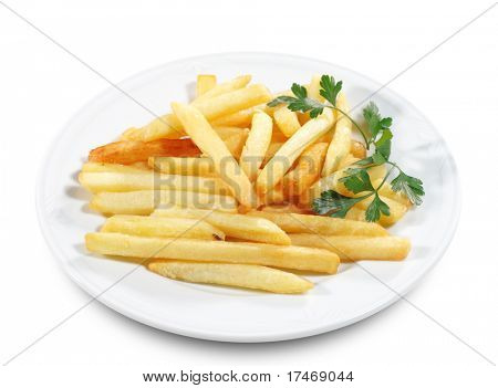 Side Dish French Fries (Fries) Served with Parsley. Isolated on White Background