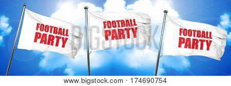 football party, 3D rendering, triple flags