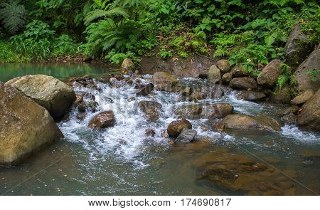 Forest stream among stones. Clean cold water stream in mountains. Fresh stream current between rocks. Rocky landscape with spring. Ecological tourism - hiking photo of fast river and green riverside