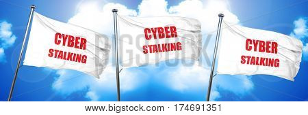 Cyber stalking background, 3D rendering, triple flags