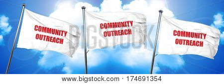 Community outreach sign, 3D rendering, triple flags