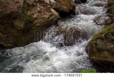 Rafting river among black rocks. Fresh water fast stream in stones. Forest river with clean cold water. Fresh spring in mountains. Natural drinking water concept. Fast water current in wild nature
