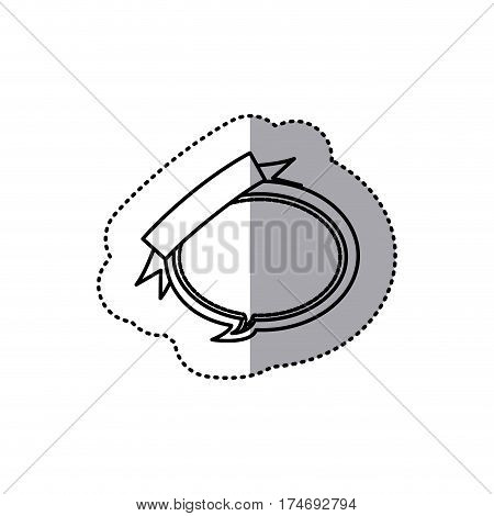 monochrome contour sticker of balloon dialog box design with ribbon vector illustration