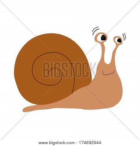 Cute snail in cartoon style vector illustration